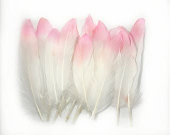6-8 Inch Pink Dip Died Natural Goose Feathers
