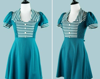 1970s Teal Striped Dress - 70s Dress With Puffed Sleeves - Pointed Collar - Attached Sash - Faux Button Front