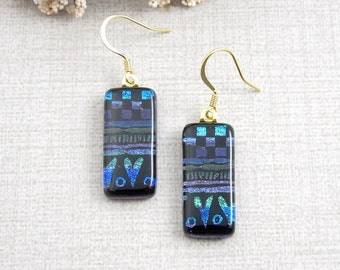 Blue Glass Earrings Glass Dangle and Drop Glass Earrings - Patterned Dichroic Fused Glass Hanging Earrings with Gold Filled Ear Wire