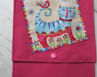 Great pattern cats 26 x 18 fuchsia lined pouch / purse/Tablet/book sold individually