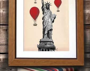 Statue Of Liberty  Red Hot Air Balloons Art Print Acrylic Original Painting Print Mixed Media Wall Art Wall Decor Wall Hanging New York