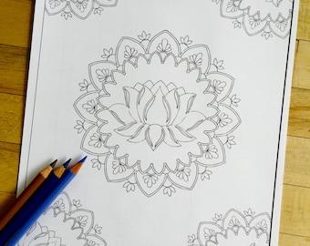 "Mandala ""Lotus Pond"" - Hand Drawn Adult Coloring Page Print"