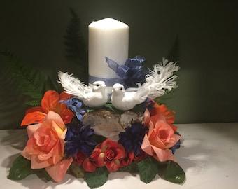 Birch stump candle centerpiece