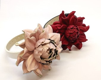 Snap charm GENUINE light pink leather rose flower on a snap bracelet or a snap necklace | Unique snap jewelry | Leather flower snap buttons