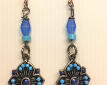 Woman's Dangle Earrings Blue, Turquoise Earrings, Long Earrings, Boho Earring, Woman's Bohemian Style Earrings, Gift-for-Woman, Gift-for-Mom