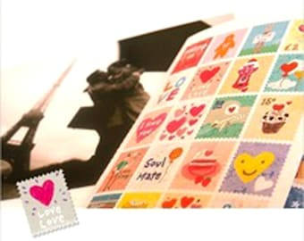 Diary Sticker Stamps Paper Craft Travel Heart Girls Diary Cute Vintage Retro Cartoon 80 Stamp Decoupage