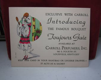 1920's Art deco perfume advertising card made in france Toujours Gaie, Carrolls Perfumers,gorgeous flapper graphics,artist signed