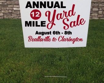 Community Yard Sale Sign, Custom Sale Sign, 24 x 18, Custom Corrugated Yard Stake, Outdoor Yard Sale Signs, Custom Made Signs, Black and Red