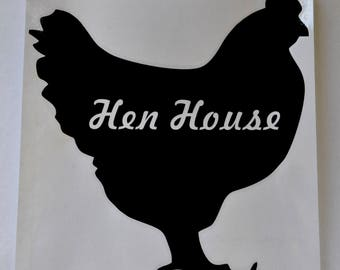 Chicken Coop 'Hen House' Black Decal 20cm Sticker Poultry Silhouette Vinyl Sign