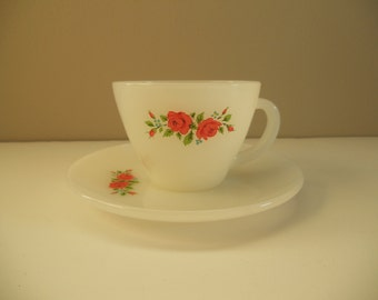 Fire King Rose Tea Cup and Saucer