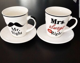 duo set for Valentine's day MR and MRS wall cups