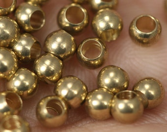 50 pcs 4 mm (hole 11 gauge 2.3 mm) raw olid brass spacer bead , findings bab2.3 1456