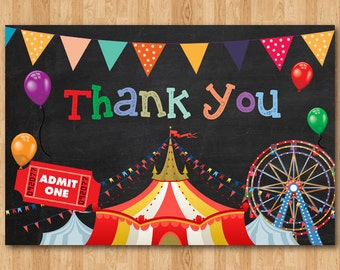 Circus Thank You Card. Circus theme thank you note. Birthday Party. Chalkboard. Printable digital file DIY. Instant download. Print your own