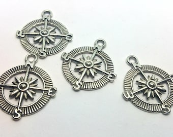 X 1 charm - Compass Compas North South East West - silver metal