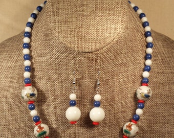 Painted Porcelain Bead Necklace in Blue and White with Earrings
