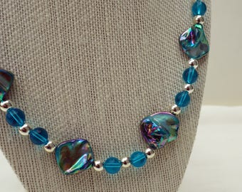 Long Blue Pearl Nugget Necklace Set, 26 inches