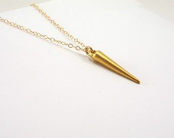 Gold Spike Necklace, Gold Chain, Spear Necklace