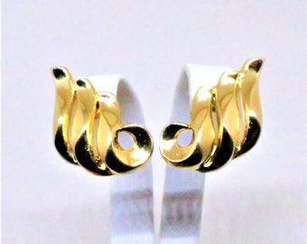 Swirled Earrings - Vintage, Crown Trifari Signed, Gold Tone, Clip on