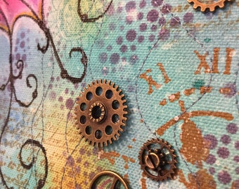 Seahorse steampunk art quilt wall hanging mixed media