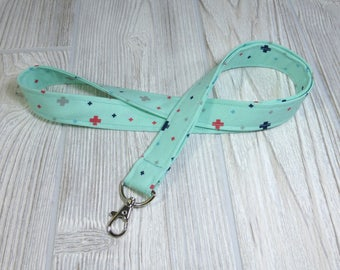MOM Gift LANYARD ID Badge Holder - Lobster Clasp - Mint Green Cross - Key Chain - Keychain - Plus sign Fabric Necklace - Boys Girls Adults