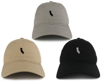 Small California Map Embroidered Washed Cotton Soft Crown Adjustable Dad Hat  - Available in 3 Colors! (C03-CALIFORNIA)