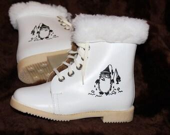 Sovietico dell'annata bambino stivali 1984 inutilizzati Vintage bianco inverno bambino stivali Vintage baby booties bambino caldo stivali stivali