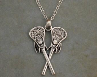 Lacrosse Sticks Rhinestone Necklace