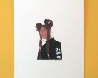 Girl with Braids Illustration - A4 Print