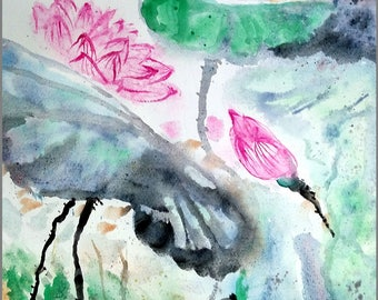 "Original Water color Painting,  Pink Lotus flower, 15""x16"", 160480"