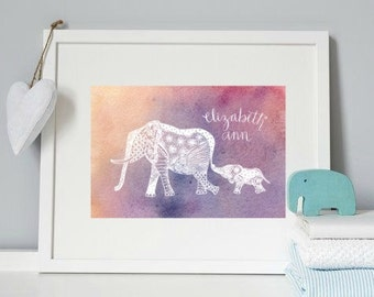 Print: Custom Name Mom & Baby Elephant Art - Watercolor Background