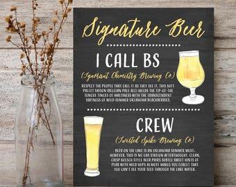 Beer Menu Signature Drink Sign