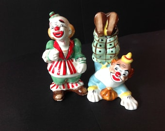 Vintage Yona Original 1957 Tumbling Clowns Salt Pepper Shakers