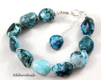 Turquoise Bracelet,Turquoise Agate Bracelet,Gemstone Bracelet,Adjustable Bracelet,Turquoise Jewelry,Silver Bracelet,December Birthstone