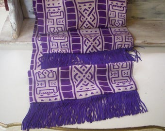 Vintage purple abstract shawl wrap/Abstract fabric/Vintage aztec fabric shawl/Sheer head piece/aztec fabric scarf/Sheer shawl with tassels