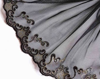 1.59 m lace embroidery on black gold tulle width 19 cm