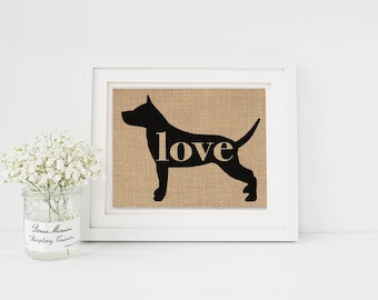 Staffordshire Terrier / Pit Bull / Amstaff - Burlap Home Decor Print for Dog Lovers - Farmhouse Style Silhouette (More Breeds) (101p)