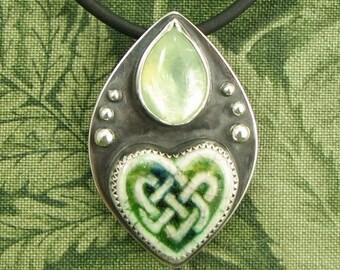 "Green Ceramic Celtic knot-work Heart and Prehnite Sterling pendant ""A Promise Kept"" OOAK"
