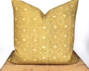 Mudcloth Pillow Cover, African Mud Cloth, Authentic Mud Cloth Pillow | Tan/Mustard Yellow | 'Millie'