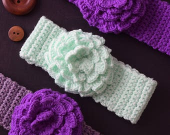 Soft hand crochet.headband with flower baby Girl