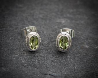 Peridot Earrings, Peridot Stud Earrings, August Birthstone, Birthstone Earrings, Peridot Jewellery, Faceted Peridot, Sterling Silver
