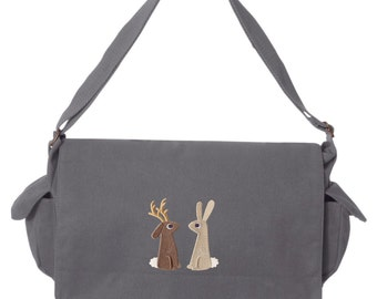 The Jackalope and the Rabbit Embroidered Canvas Cotton Messenger Bag