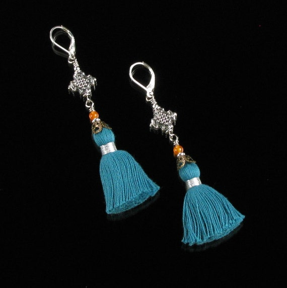 Long Blue Tassel Earrings, Leverback Boho Gypsy Dangle Earrings, Boho Silver Festival Earrings, Unique Boho Chic Gift for Her, Women, Mom