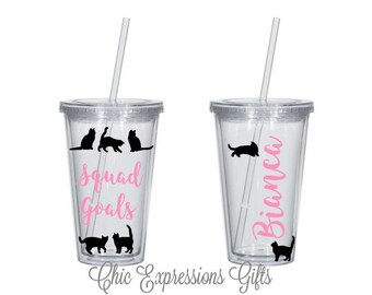Cat lover squad goals - crazy cat lady - cat lover - personalized tumbler
