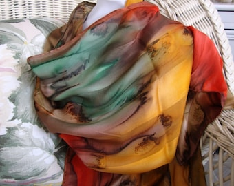 Scarf, Silk, Women, Hand Dyed, Silk Scarf, Chestnut Antelope Olive Apricot