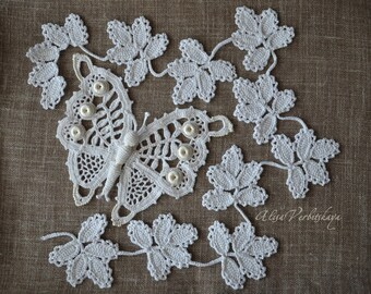 Irish Crochet white butterfly appliques Leaf applique Irish lace jacket Irish crochet dress  Wedding supply Animal applique