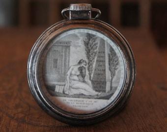 Pocket Watch Pendant Mourning Memento Mori Old Painting Memory Pendant