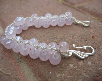 15% off! Pink Bubbles Beaded Knit Bracelet