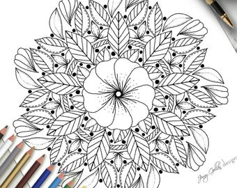 Printable Colouring Page Simple Mandala