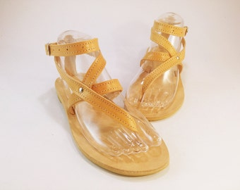 Strappy Sandals - Natural Leather Sandals - Greek Leather Sandals - Summer Flats. Handmade in Greece.