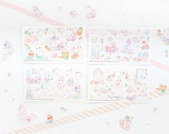 Bunny Stickers Set, Rabbit Stickers Set, Bunny Stickers, Korean Stickers